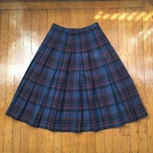 Pendleton Blue and Purple Plaid Pleated Wool Skirt